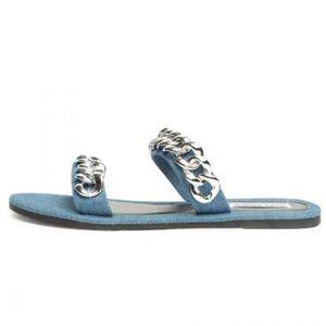 Cape Robbin Chain Sandals in Denim